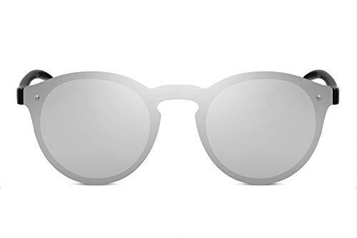 Cheapass Gafas de Sol Redondas Montura Plateada Espejada Lentes de Una Pieza Hombre Mujer Protección UV400