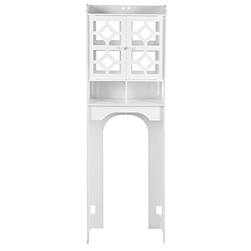 Toilet Opbergkast Boven Toilet WC Vloerstaande Toilet Bovenkast Badkamer Plank met Eenvoudig te monteren Opbergvakken voor Badkamer Toilet 47x23x150cm Wit