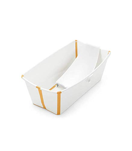 STOKKE® Flexi Bath®│Vasca pieghevole per bambini con supporto ergonomico per neonato│Vaschetta portatile per bambini a partire dai 4 anni│Colore: White Yellow