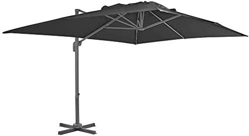 FGVDJ Garden Tilt Cantilever Umbrella Umbrella Umbrella, Adecuada para Piscina de césped al Aire Libre, 400 x 300 cm Antracita Impermeable y Resistente a los Rayos UV con Poste