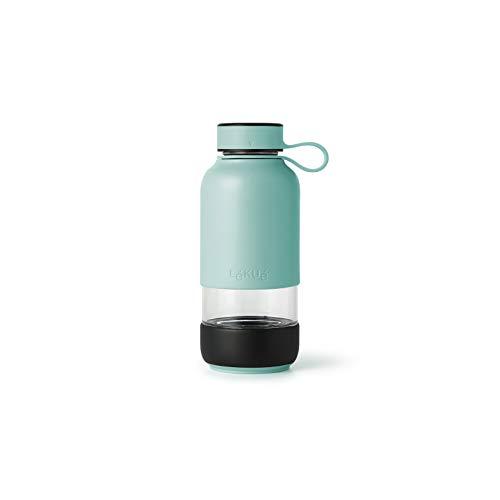 Lékué Botella Vidrio con Funda de Silicona, Turquesa, 600 ml