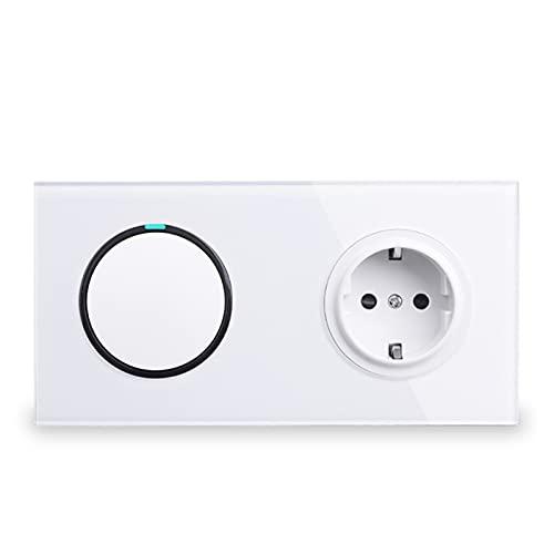 Panel de Vidrio Blanco 16A Toma de Corriente de Pared + 1 GAND 2 Way Pass A TRAVÉS del Interruptor DE LA LUZ EN EL INFORMADOR Diseño Elegante (Color : White, Voltage : AC 110-250V)