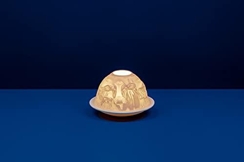 Light-Glow Vaches Bougeoir en Porcelaine Blanc 13 x 12 x 8 cm