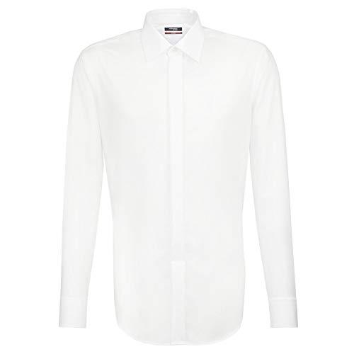 Seidensticker Herren Smoking Hemd Modern Fit, Weiß (01 Weiß), Large (Herstellergröße: 42)