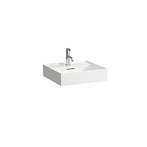 Laufen Kartell Aufsatzwaschtisch, 1 Loch für Armatur, mit Überlauf, Wandmontage, 500 x 460, Farbe: Weiß mit LCC – H8163324001041 Grau, matt