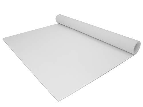 PVC Bodenbelag EXPOTOP Profi Vinylboden - 2,00m x 3,00m, Uni Weiß PVC Boden Meterware Vinyl, Reflektiert Nicht, Einfarbig, Schwer Entflammbar