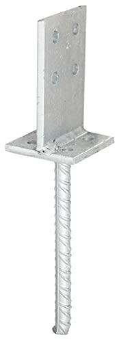 GAH-Alberts 215521 T-Pfostenträger | zum Aufschrauben oder zum Einbetonieren | feuerverzinkt | Steggröße 130 x 80 mm | Betonanker 200 mm