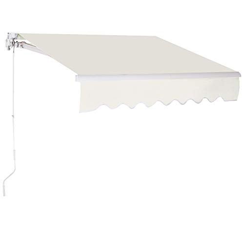 COSTWAY 3 x 2,5 m Gelenkarmmarkise Sonnenmarkise Balkonmarkise Terrassenmarkise Klemmmarkise mit Kurbel für Balkon und Veranda (Milchweiß)