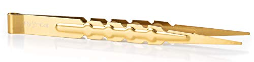 FlyCol Gold Shisha Zange für Tabak und Kohle | Zubehör Shishazubehör Zange Tabak (Mattgold)