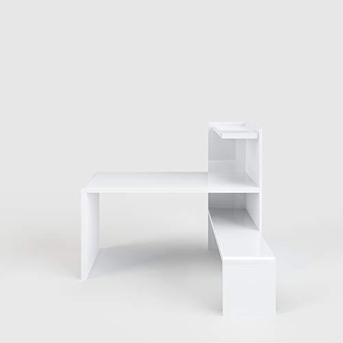 Phoenix Prana Schreibtisch, Holz, Weiss Hochglanz, 110 x 142 x 118 cm
