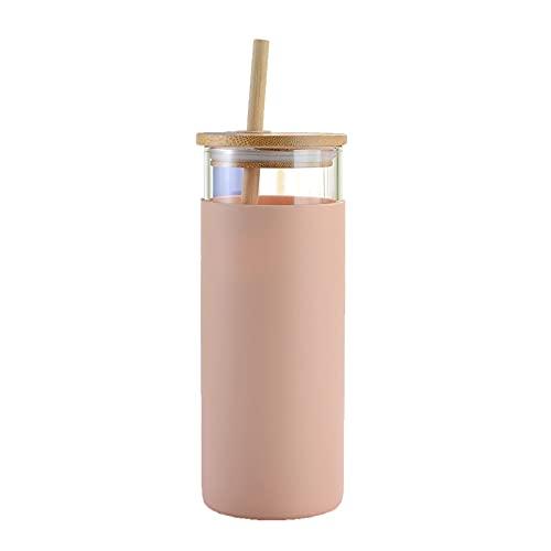 Taza con Pajita Taza de Cristal de Moda Cubierta de bambú Botella de Agua Deportes Botella de Agua Bebida Botella de Agua con Paja (Color : Pink)