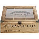 Trendkontor Storage Box Teekiste mit 9 Fächern im Vintage Design