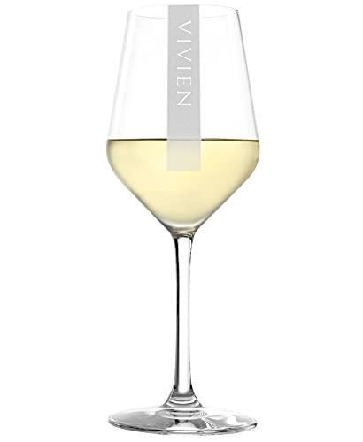 Weißweinglas mit Gravur Namen 2 Stück | 365ml Stölzle Revolution Weinglas | Spülmaschinenfest | Weißweinkelch & Individuelle Lasergravur | 2er Set