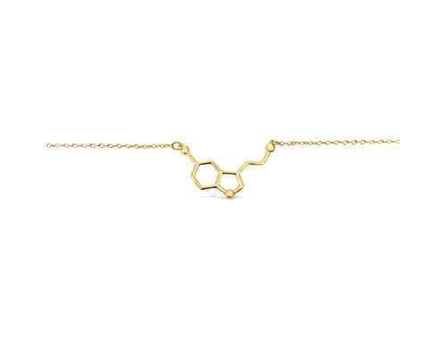 Rosa Vila Happiness Serotonin Molecule Bracelet, Happiness Bracelet, Happy Science Gift for Her, Ideal for Biology Major, College Graduation Gifts, Teacher or Professor (Gold tone)