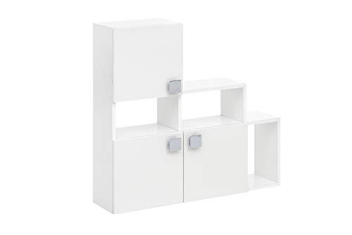 lifestyle4living Bad Regal in weiß | Wandregal mit 3 offenen und 3 geschlossenen Fächern, 82 x 80 cm