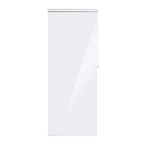 Relaxdays Duschrollo, 80x240 cm, Seilzugrollo für Dusche & Badewanne, wasserabweisend, Decke Spritzschutz, durchsichtig