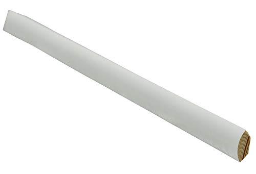 12 Meter Sockelleiste Viertelstab 14mm hoch 14mm stark 2400mm lang Fußleiste weiß lackiert Kiefer Massivholz, Farbe:weiß