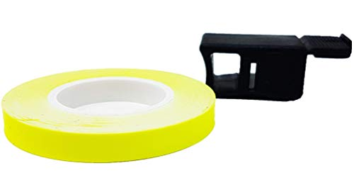 4R Quattroerre.it 10293 Wheel Stripes Franjas Llantas de Moto con Aplicador, 7 mm x 6 mt, Amarillo Fluorescentes