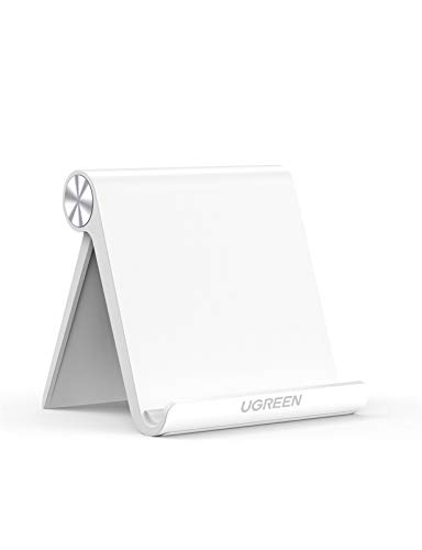 UGREEN Support Tablette Réglable iPad Stand Pliable Compatible avec iPad Pro iPad Air iPad Mini, Galaxy Tab A2019 S7 S6 S5e, Mediapad, iPhone 12 Pro Max Se 2020 11 X 8, Galaxy S21 Ultra S20 (Blanc)