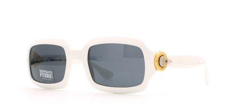 Gianfranco Ferre 389 C29 Damen-Sonnenbrille, rechteckig, zertifiziert, Vintage-Stil, Weiß