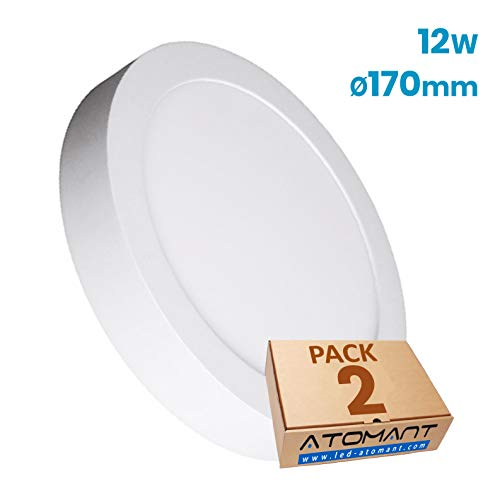 Pack 2x Plafon LED Redondo Superficie 12w. Color Blanco neutro (4500K). Diametro 17cm. 1000 Lumenes. A++