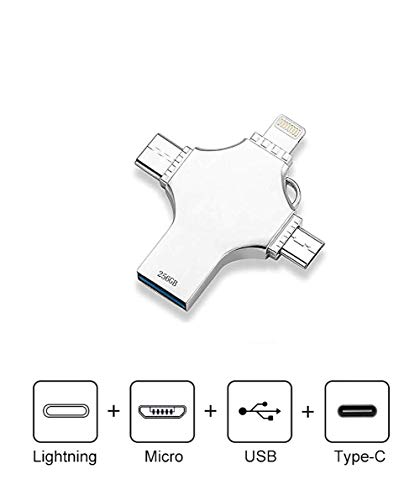 maxineer Memoria USB 256GB Pendrive para iPhone Android iPad iPod MacBook Computadoras Laptops Type C Dispositivos Flash Drive USB 3.0 (256GB)