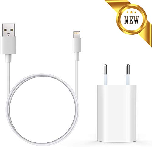 Everdigi Cargador Enchufe Adaptador USB + Cable de Carga para iPhone 5 6 S 7 8 X S Plus (1m)