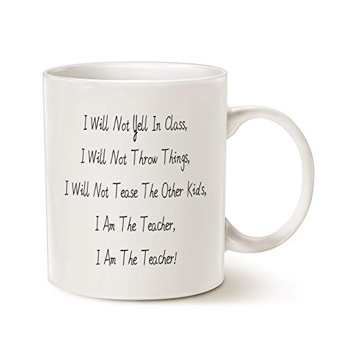 MAUAG Taza de café con texto en inglés «I Am the Teacher Best Teachers Day Gifts», color blanco, 325 ml