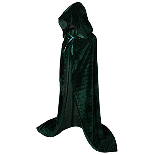Halloween volledige lengte Hooded Robe Mantel Lange Fluwelen Cape Cosplay Kostuum Mode Pure Kleur Party Masquerade Blouse
