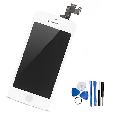 Yodoit voor iPhone 5s LCD-scherm en Digitizer Montage Glas Touch Screen Vervanging met Frame Reserveonderdelen (Front Camera, Sensor Flex, Home Button, Earpiece Speaker) + Gereedschap (4 inch wit)