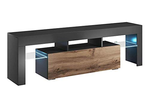 BIM Furniture TV Lowboard kast VERO 138 cm hoogglans TV tafel dressoir, TV commode, televisiekast, Mediaboard, onderkast HiFi TV-kast modern antraciet/Wotan.