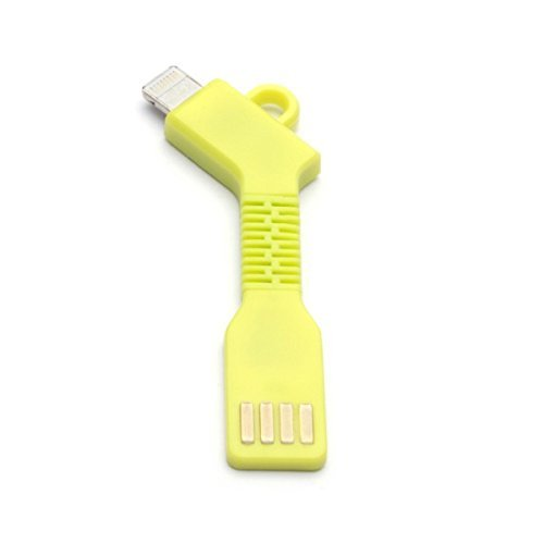 aricona N°477 - USB Micro-B naar USB Connector PowerBank Adapter Kabel als sleutelhanger, Flexibel Compact Alternatief voor een Oplaadkabel, maat:Apple;kleur: geel