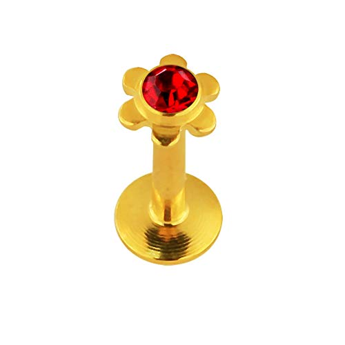 Crystal Stone Flower Push-Fit Top Gold geanodiseerd 16 gauge - 8 mm lengte 316L chirurgisch staal Madonna lip labret tragus bar piercing