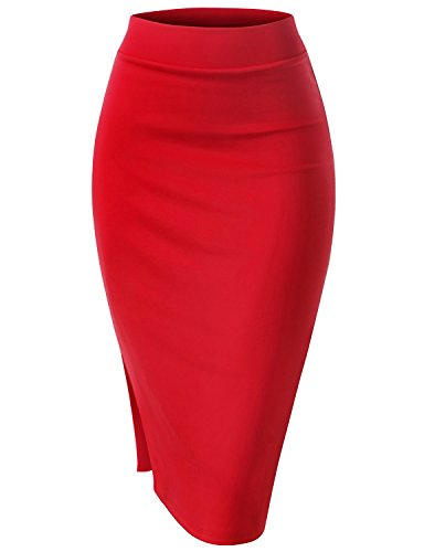 Regna X for Women Slim fit Wear to Work S Shape red 2X Plus Size Pencil Side Slit Midi Skirt