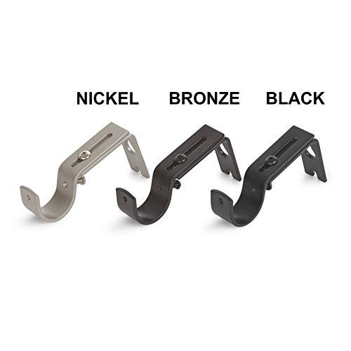 AmazonBasics Adjustable Curtain Rod Wall Bracket Hooks, Set of 2, Black