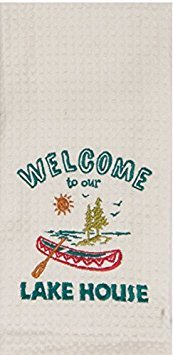 Kay Dee Designs Lake House Embroidered Kitchen Towels Set - Hand Towels with Boats and Paddles, Outdoor Camping Boating Dish Cloths