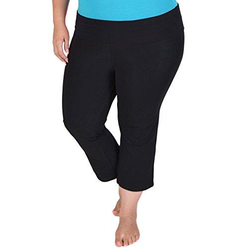 Stretch is Comfort Women's PLUS SIZE CAPRI Yoga Pants Black XXL