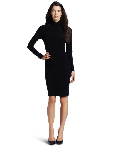 KAMALIKULTURE Women's Turtleneck Dress,Black,X-Large