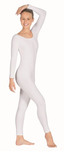 Eurotard 10129 Womens Long Sleeve Unitard (Small,White)