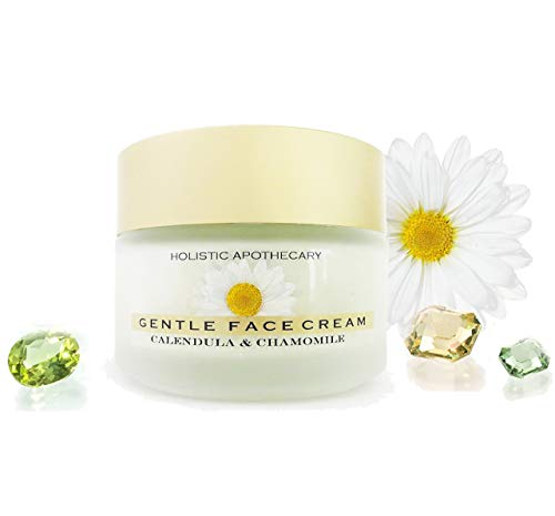 Natural & Organic Face Moisturizer Cream Calming Chamomile Calendula Butter Cream - Extra Nourishing & Hydrating Facial Cream For Dry, Sensitive Skin Calming & Healing 2 OZ Glass Jar Clean Skincare.