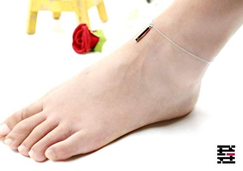 Delicate Vertical 16K Gold Silver Bar Anklet - Dainty Initial Hand stamped Personalized square stick Anklet Delicate Charms Best Graduation Day gift