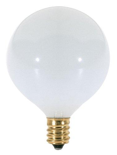 Satco S3261 120V Candelabra Base 40-Watt G16.5 Light Bulb, Gloss White