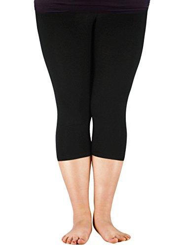 Century Star Women's Plus Size Modal 3/4 Smooth Capri Stretchy Short Pants Elastic Waist Sport Capri Leggings Black US 2X Plus-US 4X Plus