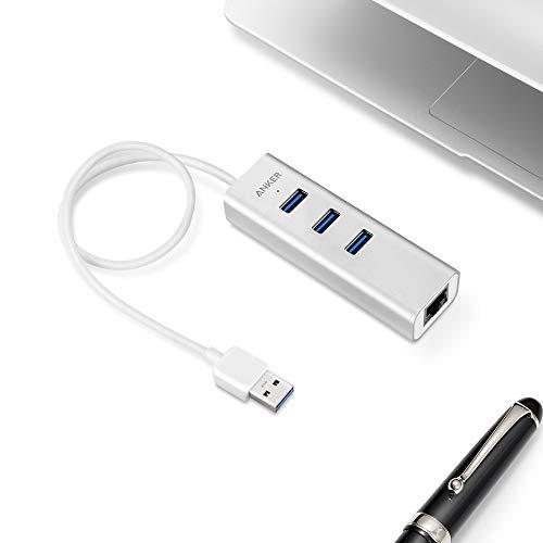 Anker Unibody Aluminum 3-Port USB 3.0 and Gigabit Ethernet Hub with 1.3ft / 40cm USB 3.0 Cable [Ethernet Port RTL8153 Chipset + USB Ports VL812 Chipset]