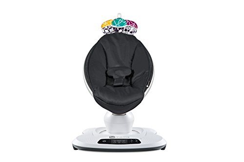 4moms mamaRoo 4 Baby Swing | Bluetooth Baby Rocker with 5 Unique Motions | Smooth, Nylon Fabric | Black Classic