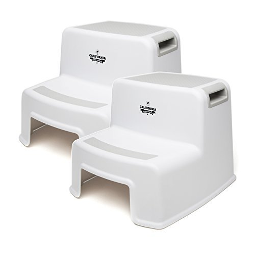 Child Step Stool (2 Pack), 2 Step Stool for Kids, Sturdy Plastic Step Stool for Kids Sink Use & Toilet Training, Toddler Step Stool Bathroom & Kitchen, Slip Resistant Dual Step Childrens Step Stools
