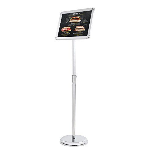 Yescom Display Vertical/horizontal View Adjustable Pedestal Sign Holder Stand w/Telescoping Post & Easy Open Snap Frame