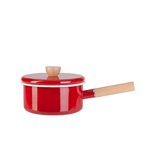 Enamel Sauce Pan Healthy White Enameled Inside Coating Iron Milk Pan and Butter Warmer with Wooden Handle Handy Pot