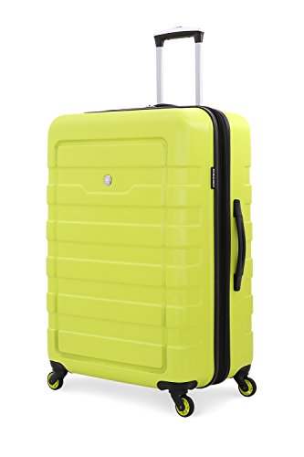 Rolling Spinner Hard Shell Suitcase Travel Luggage with Wheels, Yellow, 28