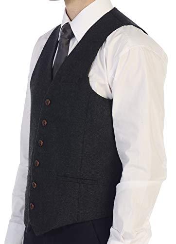 Gioberti Men's 6 Button Custom Formal Tweed Vest, Barleycorn Charcoal, 2X Large